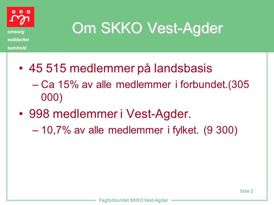 Side 2 omsorg solidaritet samhold Fagforbundet SKKO Vest-Agder Om SKKO Vest-Agder 45 515 medlemmer på landsbasis –Ca 15% av alle medlemmer i forbundet.(305 000) 998 medlemmer i Vest-Agder.