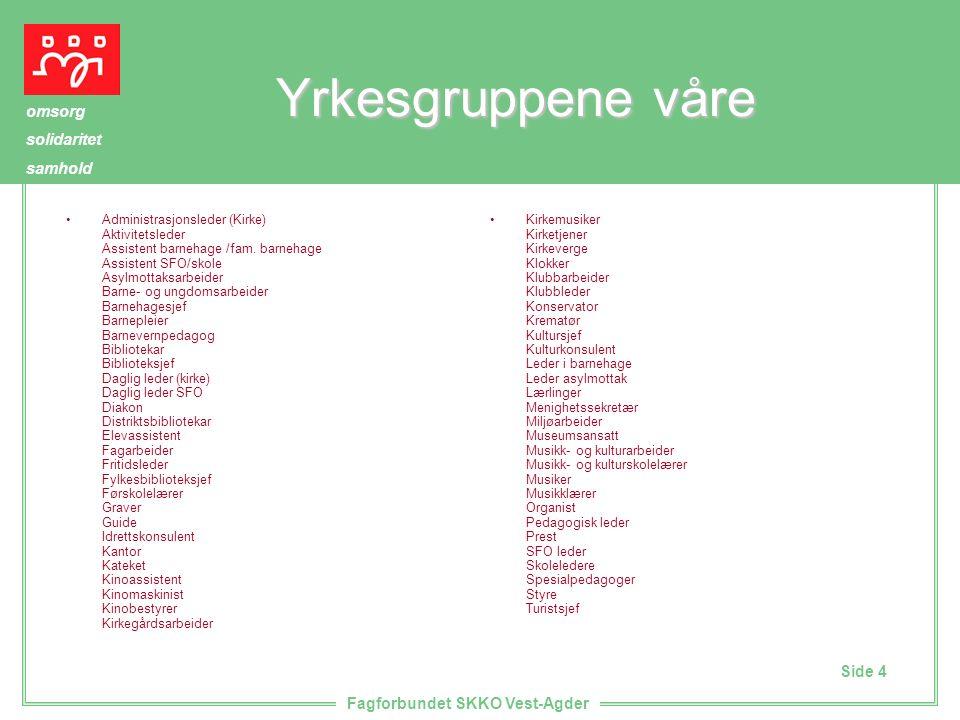 Side 4 omsorg solidaritet samhold Fagforbundet SKKO Vest-Agder Yrkesgruppene våre Administrasjonsleder (Kirke) Aktivitetsleder Assistent barnehage /fam.