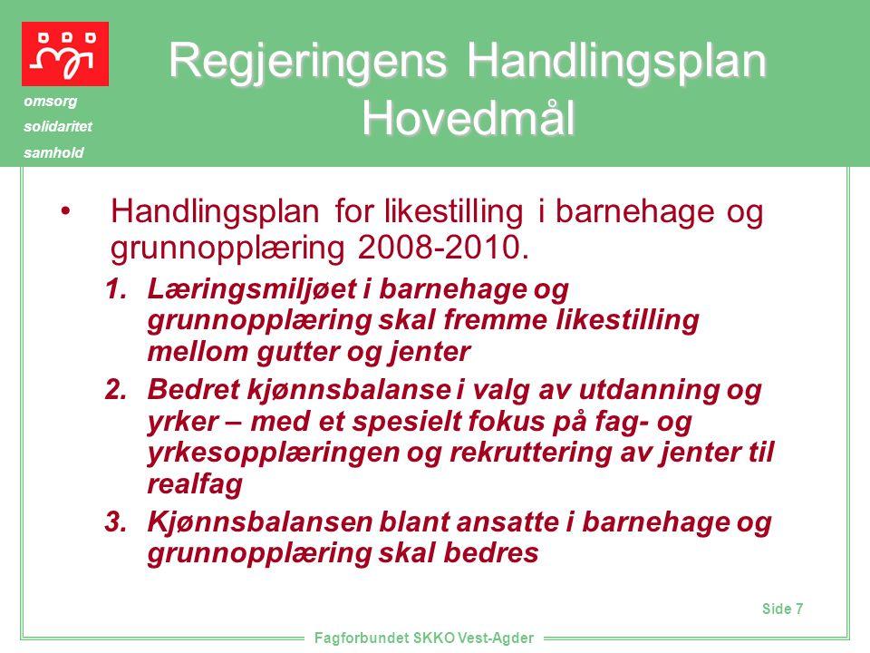 Side 7 omsorg solidaritet samhold Fagforbundet SKKO Vest-Agder Regjeringens Handlingsplan Hovedmål Handlingsplan for likestilling i barnehage og grunnopplæring 2008-2010.