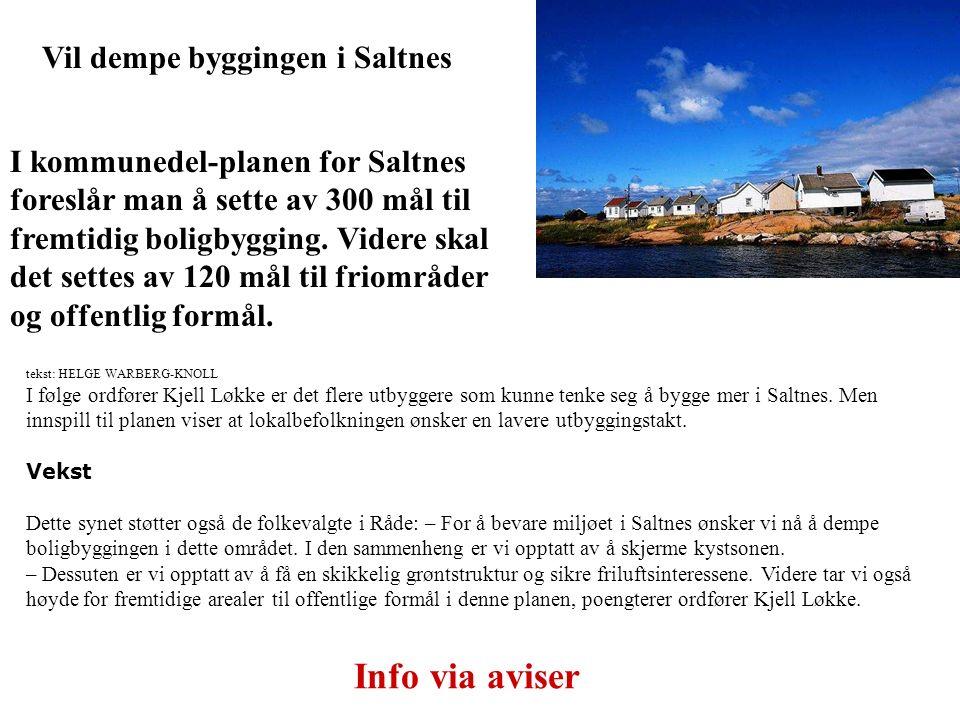 Vil dempe byggingen i Saltnes I kommunedel-planen for Saltnes foreslår man å sette av 300 mål til fremtidig boligbygging. Videre skal det settes av 12