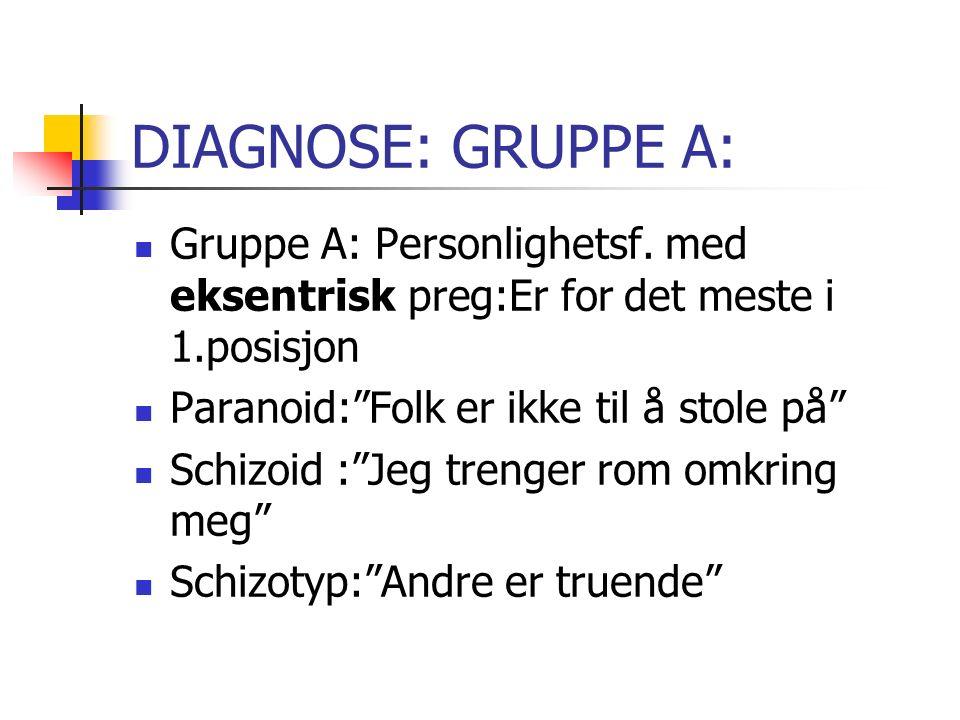 DIAGNOSE: GRUPPE A: Gruppe A: Personlighetsf.