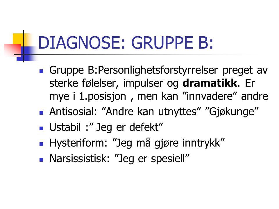 DIAGNOSE: GRUPPE B: Gruppe B:Personlighetsforstyrrelser preget av sterke følelser, impulser og dramatikk.