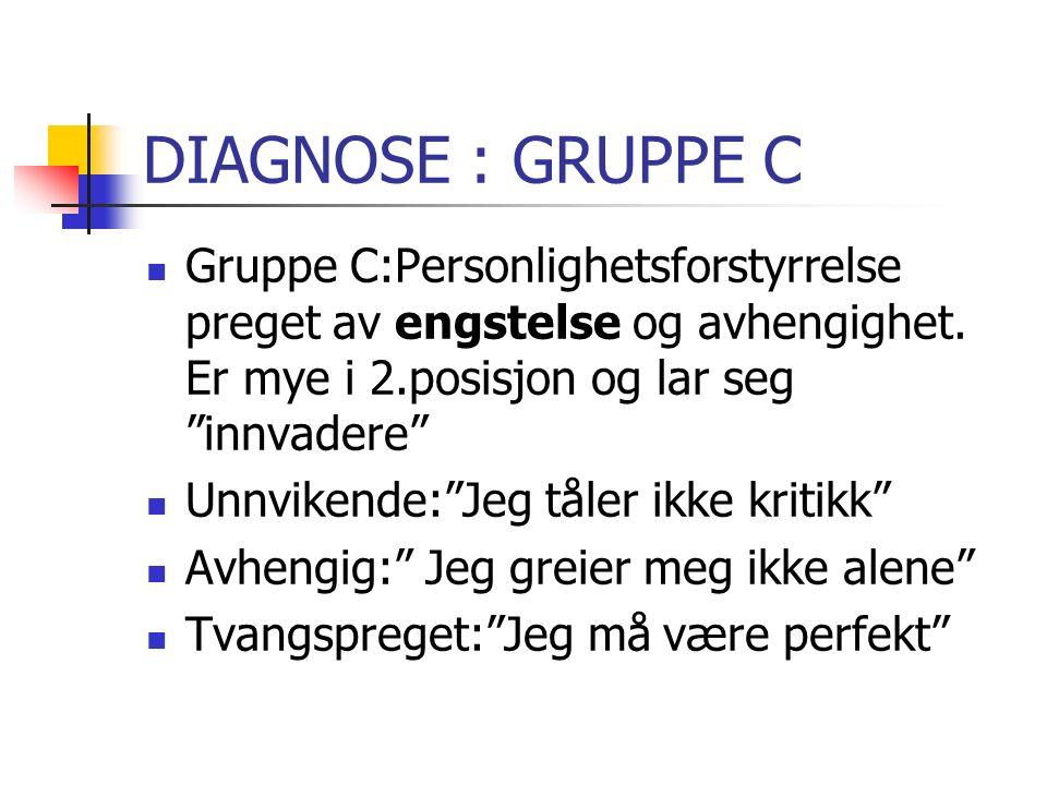 DIAGNOSE : GRUPPE C Gruppe C:Personlighetsforstyrrelse preget av engstelse og avhengighet.