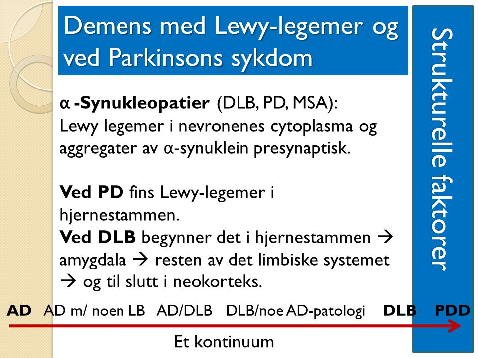Strukturelle faktorer Strukturelle faktorer Demens med Lewy-legemer og ved Parkinsons sykdom α -Synukleopatier (DLB, PD, MSA): Lewy legemer i nevronenes cytoplasma og aggregater av α -synuklein presynaptisk.