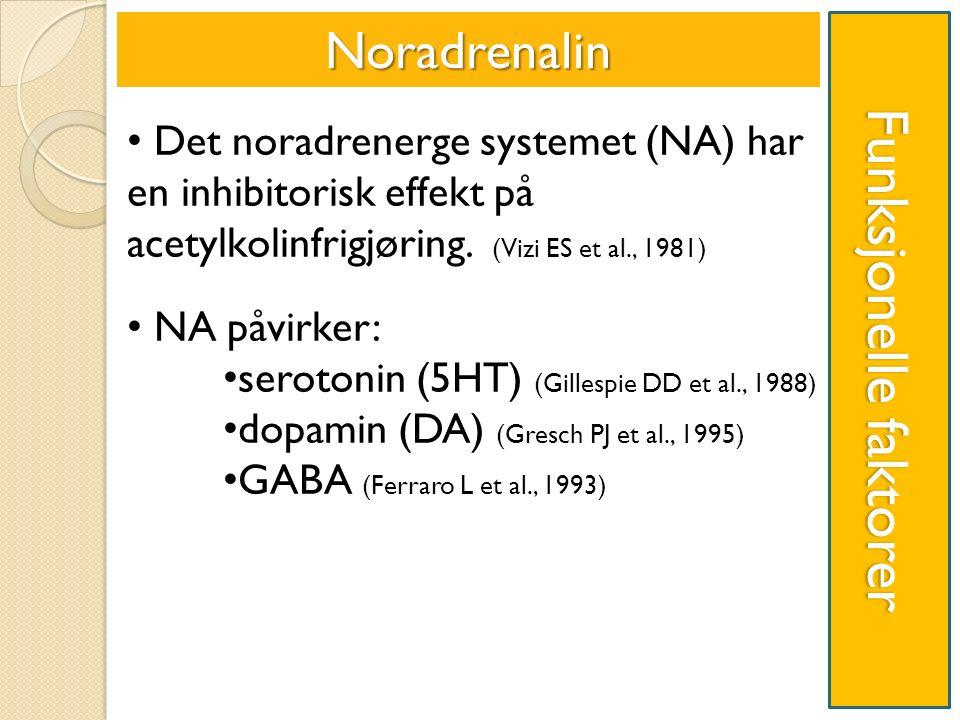 Funksjonelle faktorer Noradrenalin Det noradrenerge systemet (NA) har en inhibitorisk effekt på acetylkolinfrigjøring.