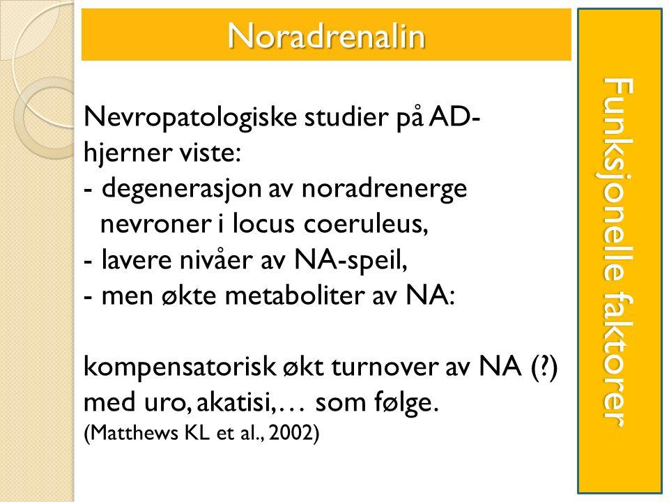 Funksjonelle faktorer Noradrenalin Nevropatologiske studier på AD- hjerner viste: - degenerasjon av noradrenerge nevroner i locus coeruleus, - lavere nivåer av NA-speil, - men økte metaboliter av NA: kompensatorisk økt turnover av NA ( ) med uro, akatisi,… som følge.
