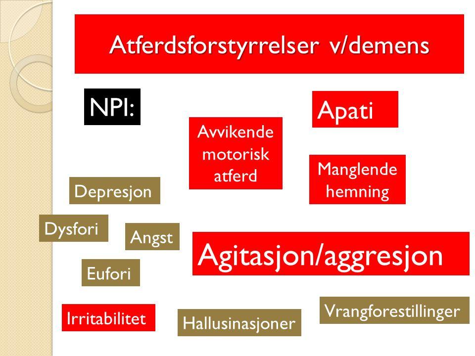 Atferdsforstyrrelser v/demens NPI: Avvikende motorisk atferd Manglende hemning Apati Eufori Angst Dysfori Depresjon Agitasjon/aggresjon Vrangforestillinger Hallusinasjoner Irritabilitet 1.Irritert ved stell eller motsetter seg 2.