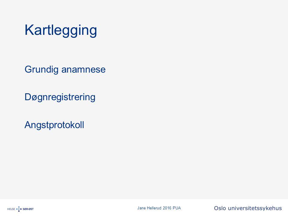 Jane Hellerud 2016 PUA Kartlegging Grundig anamnese Døgnregistrering Angstprotokoll