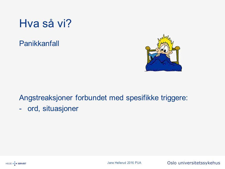 Jane Hellerud 2016 PUA Hva så vi? Panikkanfall Angstreaksjoner forbundet med spesifikke triggere: -ord, situasjoner