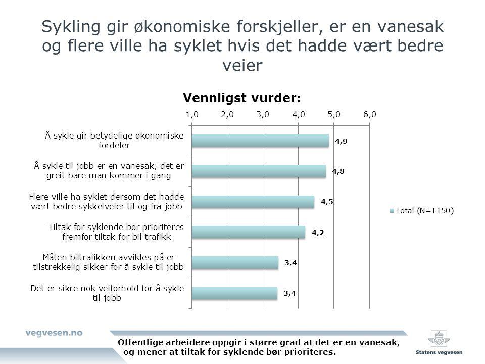 Sykling gir økonomiske forskjeller, er en vanesak og flere ville ha syklet hvis det hadde vært bedre veier Offentlige arbeidere oppgir i større grad a