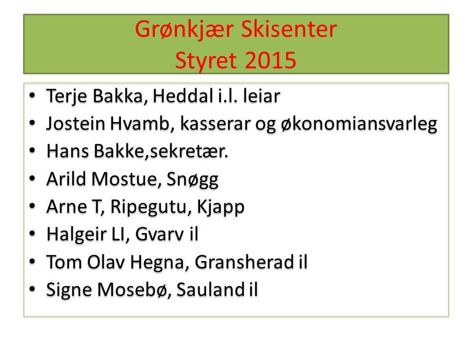 Grønkjær Skisenter Styret 2015 Terje Bakka, Heddal i.l.