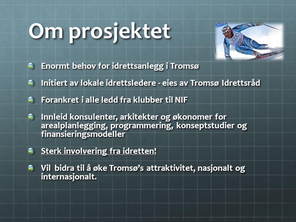 Om prosjektet Enormt behov for idrettsanlegg i Tromsø Initiert av lokale idrettsledere - eies av Tromsø Idrettsråd Forankret i alle ledd fra klubber t
