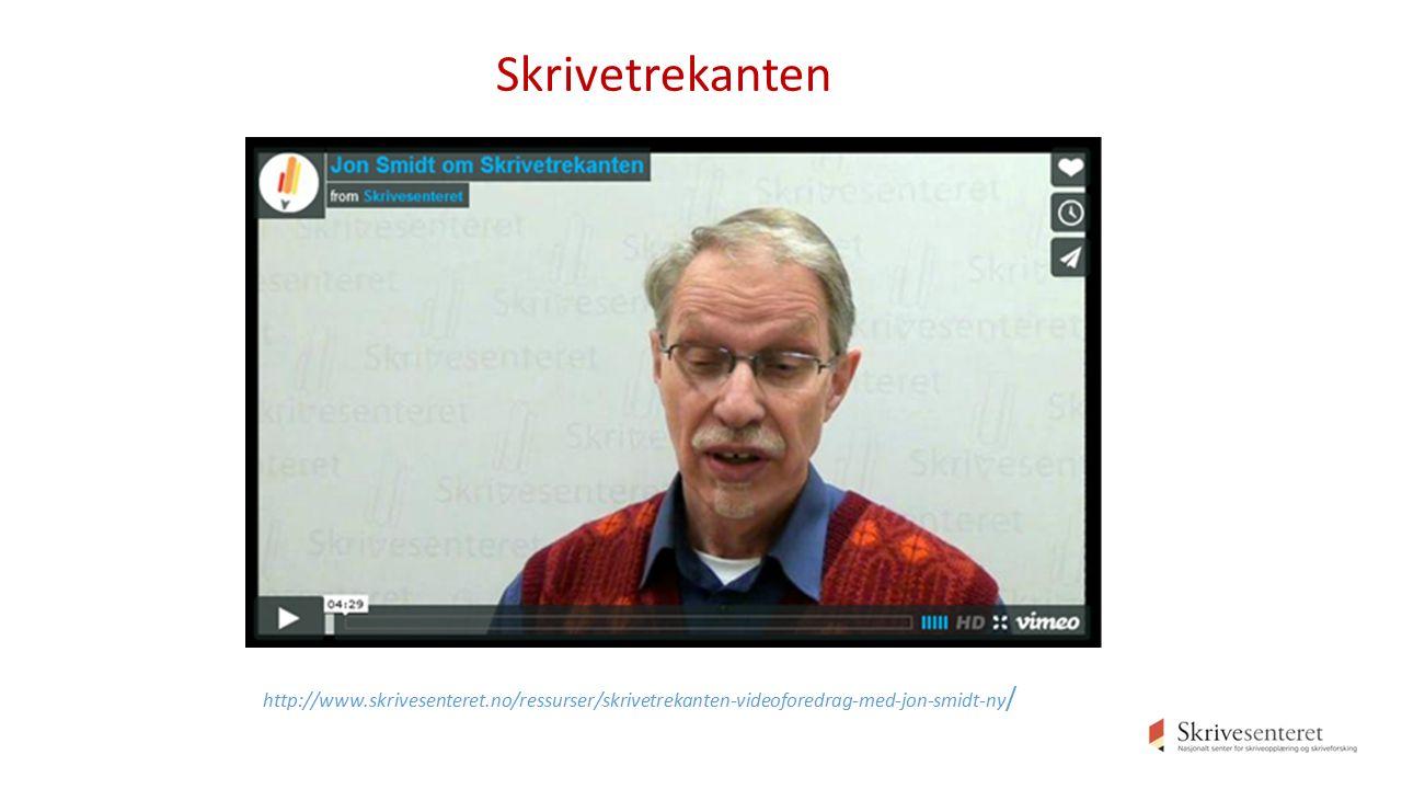 http://www.skrivesenteret.no/ressurser/skrivetrekanten-videoforedrag-med-jon-smidt-ny / Skrivetrekanten