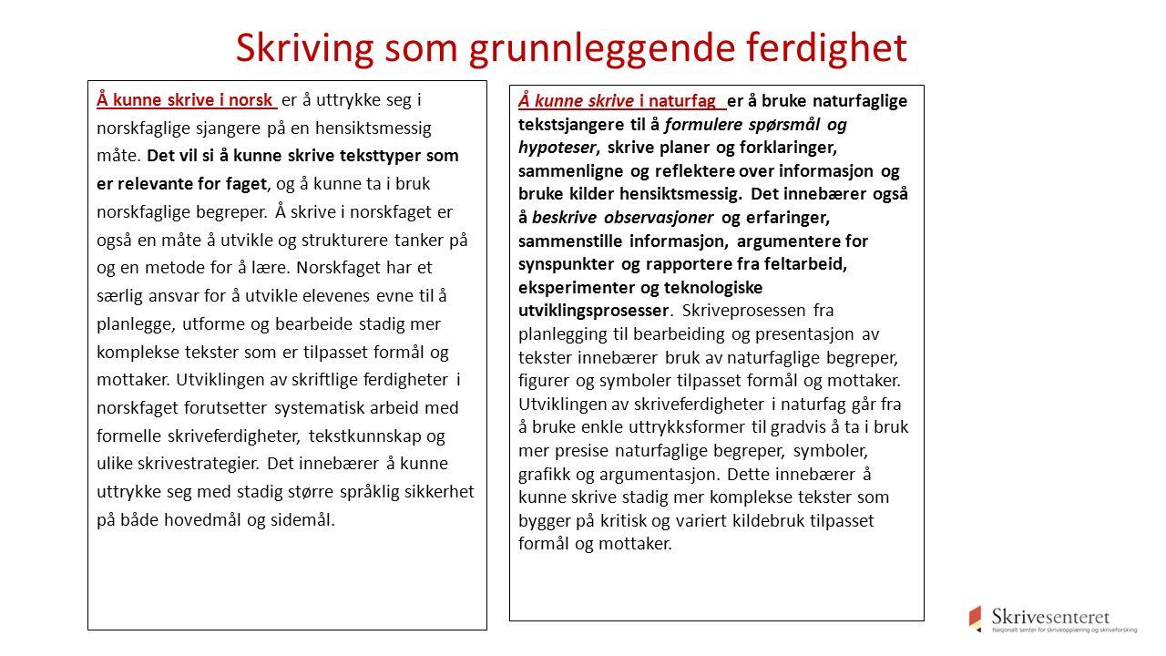 Skriving som grunnleggende ferdighet Å kunne skrive i norsk er å uttrykke seg i norskfaglige sjangere på en hensiktsmessig måte.