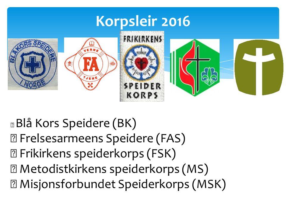 Korpsleir 2016  Blå Kors Speidere (BK)  Frelsesarmeens Speidere (FAS)  Frikirkens speiderkorps (FSK)  Metodistkirkens speiderkorps (MS)  Misjonsforbundet Speiderkorps (MSK)