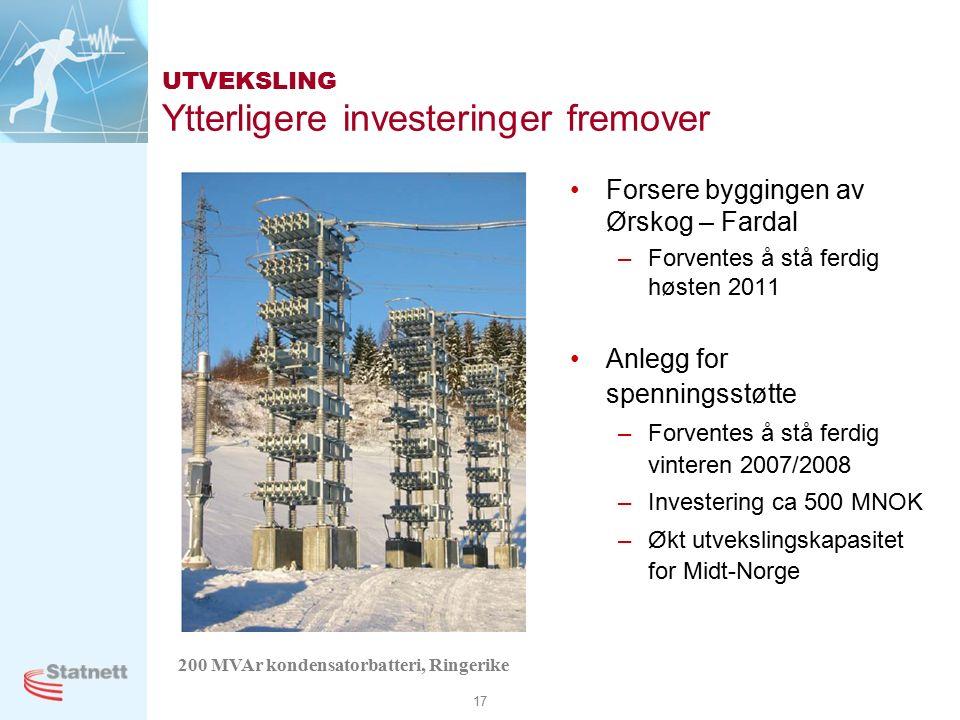 17 UTVEKSLING Ytterligere investeringer fremover Forsere byggingen av Ørskog – Fardal –Forventes å stå ferdig høsten 2011 Anlegg for spenningsstøtte –Forventes å stå ferdig vinteren 2007/2008 –Investering ca 500 MNOK –Økt utvekslingskapasitet for Midt-Norge 200 MVAr kondensatorbatteri, Ringerike