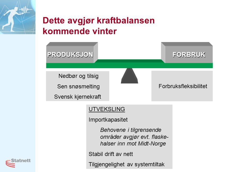 21 Dette avgjør kraftbalansen kommende vinter PRODUKSJONFORBRUK Nedbør og tilsig Sen snøsmelting Svensk kjernekraft Forbruksfleksibilitet UTVEKSLING Importkapasitet Behovene i tilgrensende områder avgjør evt.