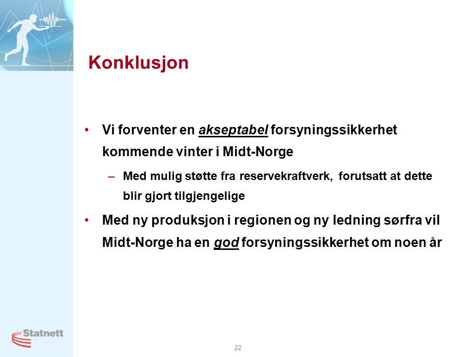 22 Konklusjon Vi forventer en akseptabel forsyningssikkerhet kommende vinter i Midt-Norge –Med mulig støtte fra reservekraftverk, forutsatt at dette blir gjort tilgjengelige Med ny produksjon i regionen og ny ledning sørfra vil Midt-Norge ha en god forsyningssikkerhet om noen år