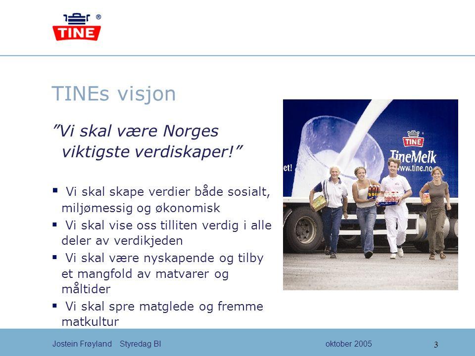 4 Jostein Frøyland Styredag BIoktober 2005 Vår forretningsidé  TINE Gruppa er et samvirkeeid matkonsern som skal drive effektivt, nyskapende, kvalitets- og markedsdrettet.