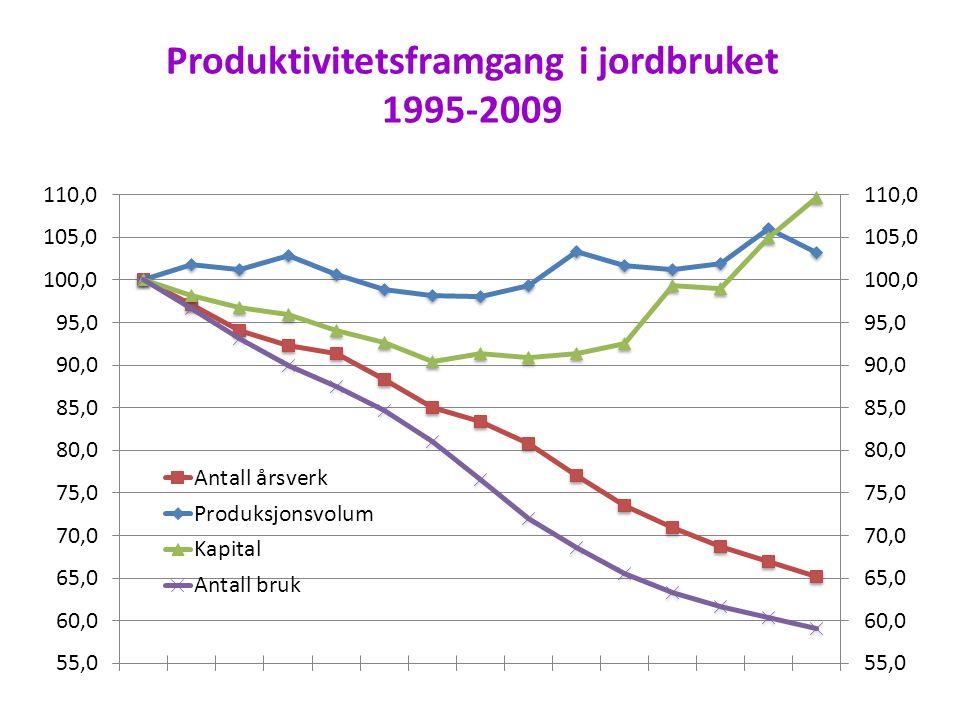 Produktivitetsframgang i jordbruket 1995-2009