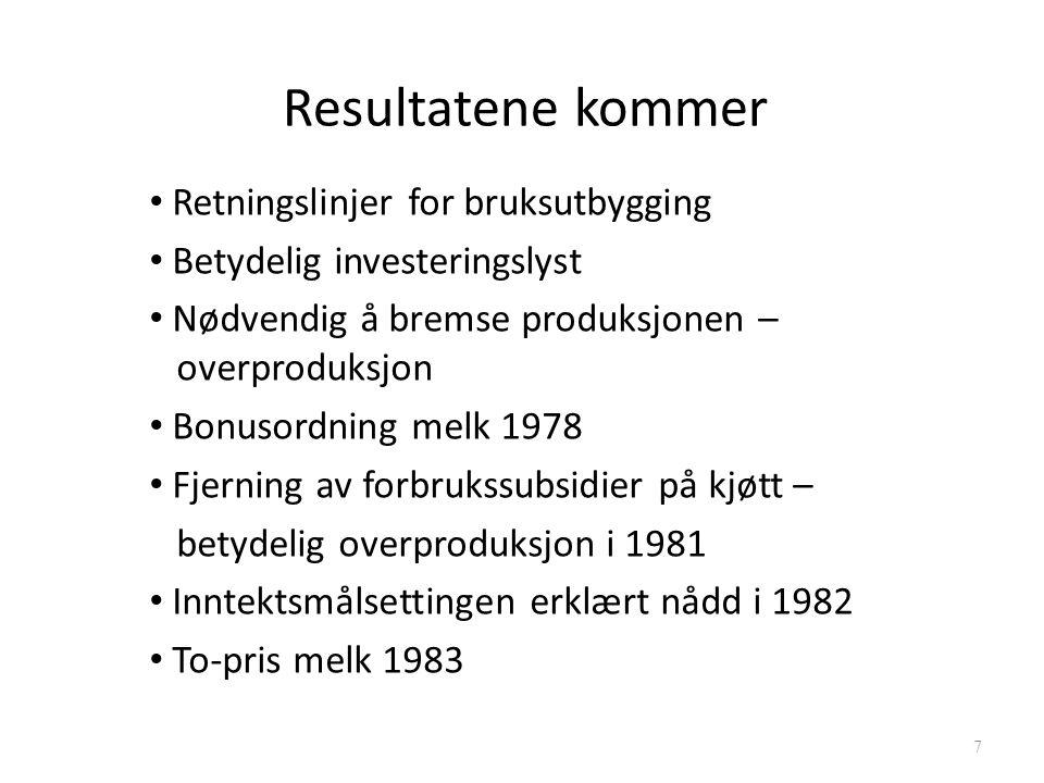 Resultatene kommer Retningslinjer for bruksutbygging Betydelig investeringslyst Nødvendig å bremse produksjonen – overproduksjon Bonusordning melk 1978 Fjerning av forbrukssubsidier på kjøtt – betydelig overproduksjon i 1981 Inntektsmålsettingen erklært nådd i 1982 To-pris melk 1983 7