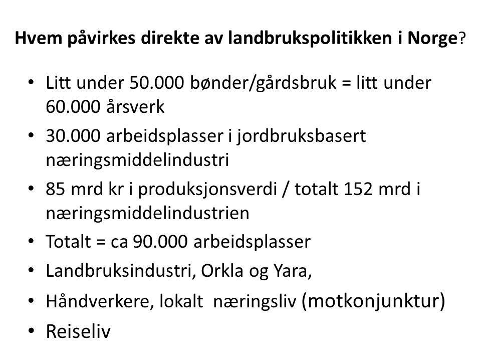 Hvem påvirkes direkte av landbrukspolitikken i Norge .