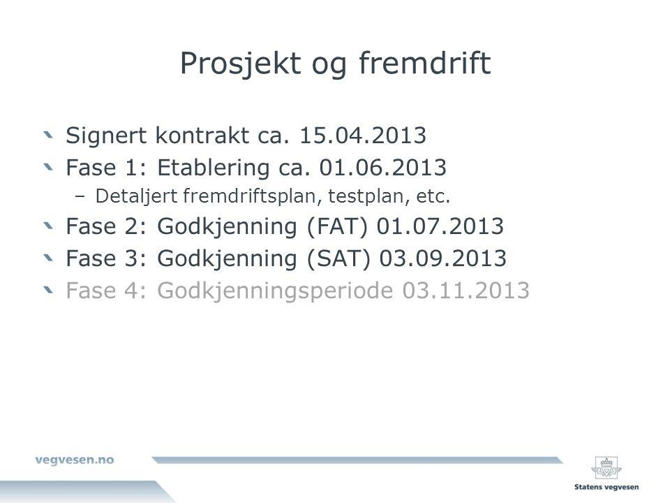 Prosjekt og fremdrift Signert kontrakt ca. 15.04.2013 Fase 1: Etablering ca.