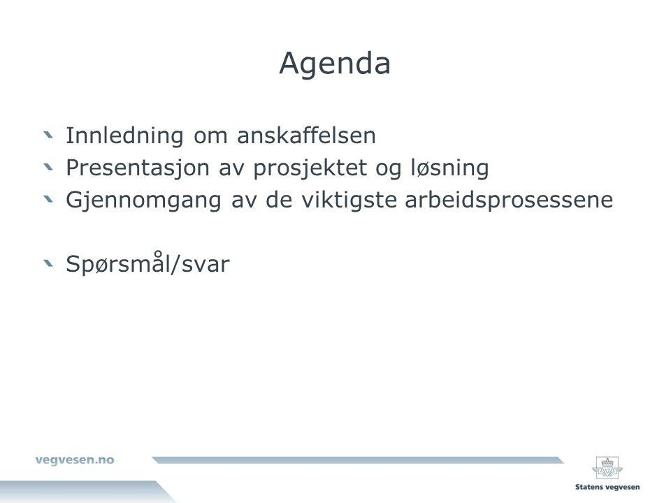 Agenda Innledning om anskaffelsen Presentasjon av prosjektet og løsning Gjennomgang av de viktigste arbeidsprosessene Spørsmål/svar