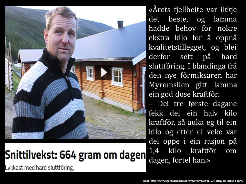 Kilde: http://www.norsklandbruk.no/nyhet/tilvekst-pa-664-gram-om-dagen-i-snitt/ «Årets fjellbeite var ikkje det beste, og lamma hadde behov for nokre ekstra kilo for å oppnå kvalitetstillegget, og blei derfor sett på hard sluttfôring.