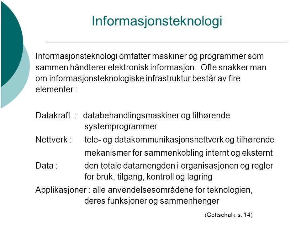 Informasjonsteknologi Informasjonsteknologi omfatter maskiner og programmer som sammen håndterer elektronisk informasjon.
