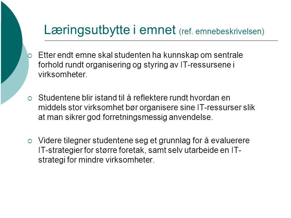Læringsutbytte i emnet (ref.