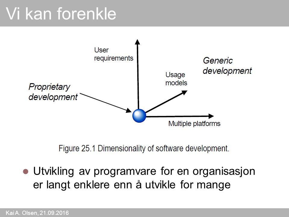 Kai A. Olsen, 21.09.2016 11 Vi kan forenkle Utvikling av programvare for en organisasjon er langt enklere enn å utvikle for mange