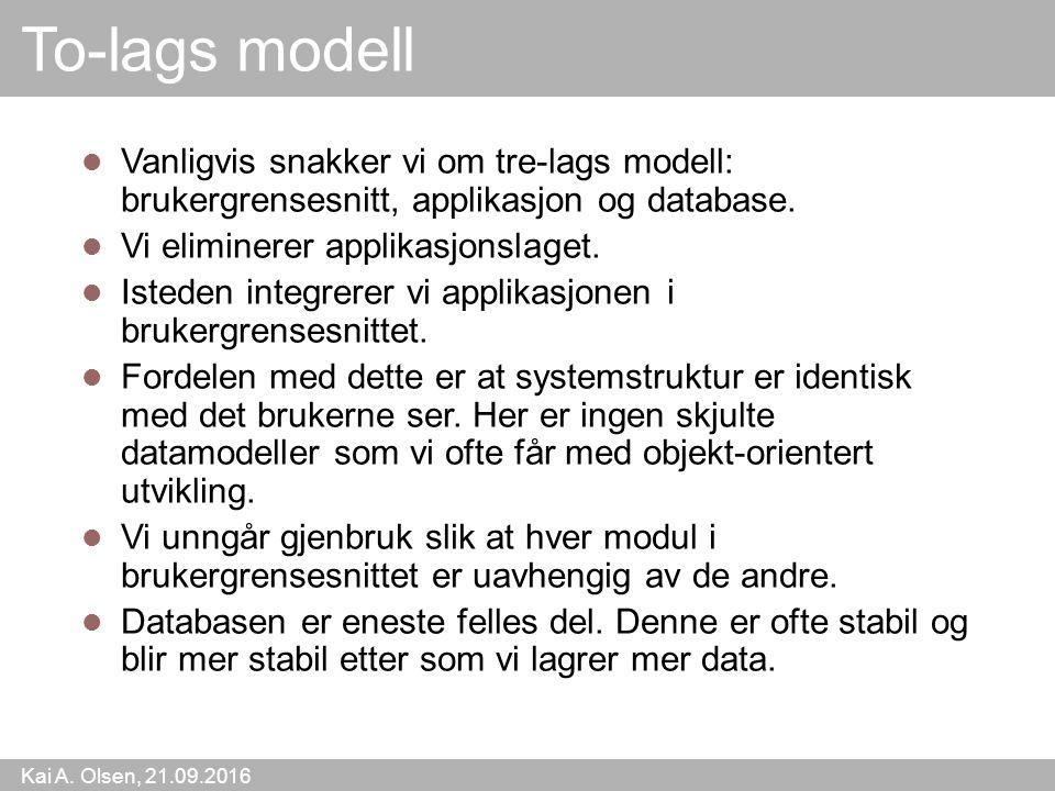 Kai A. Olsen, 21.09.2016 13 To-lags modell Vanligvis snakker vi om tre-lags modell: brukergrensesnitt, applikasjon og database. Vi eliminerer applikas