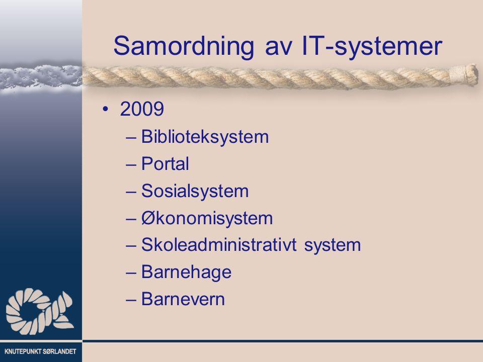 Samordning av IT-systemer 2009 –Biblioteksystem –Portal –Sosialsystem –Økonomisystem –Skoleadministrativt system –Barnehage –Barnevern