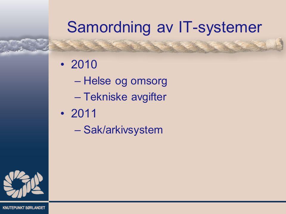 Samordning av IT-systemer 2010 –Helse og omsorg –Tekniske avgifter 2011 –Sak/arkivsystem
