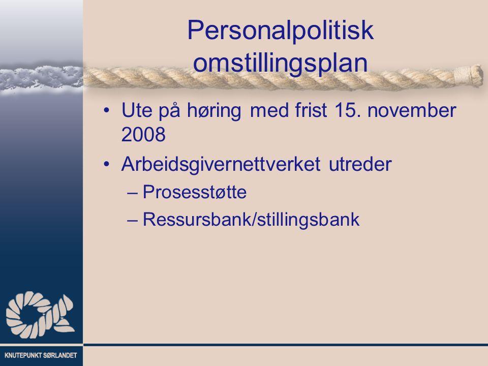 Personalpolitisk omstillingsplan Ute på høring med frist 15. november 2008 Arbeidsgivernettverket utreder –Prosesstøtte –Ressursbank/stillingsbank