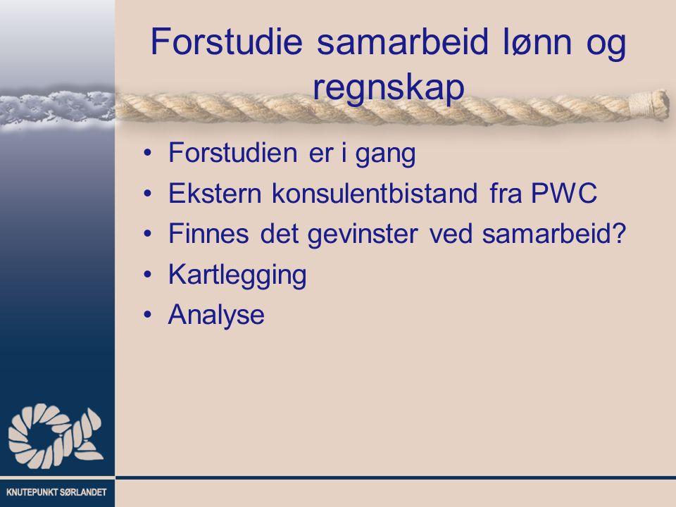 Forstudie samarbeid lønn og regnskap Forstudien er i gang Ekstern konsulentbistand fra PWC Finnes det gevinster ved samarbeid? Kartlegging Analyse
