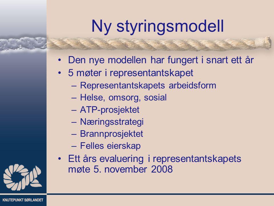 Ny styringsmodell Den nye modellen har fungert i snart ett år 5 møter i representantskapet –Representantskapets arbeidsform –Helse, omsorg, sosial –AT