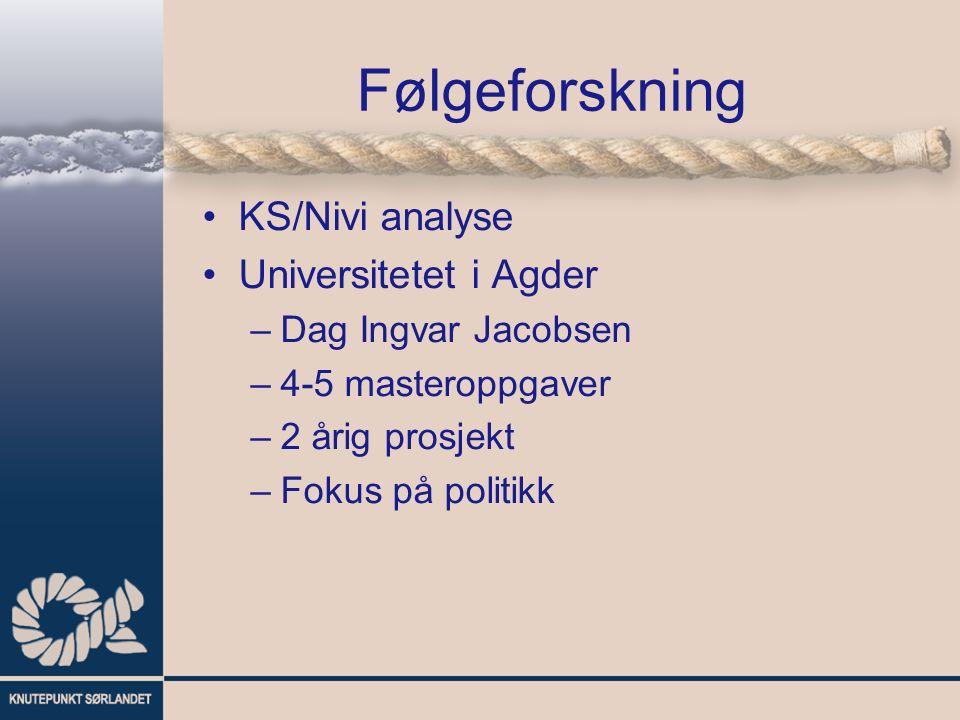 Følgeforskning KS/Nivi analyse Universitetet i Agder –Dag Ingvar Jacobsen –4-5 masteroppgaver –2 årig prosjekt –Fokus på politikk