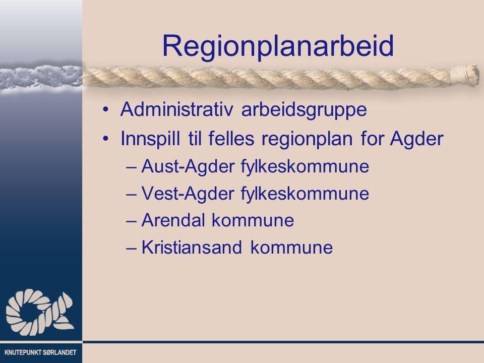 Regionplanarbeid Administrativ arbeidsgruppe Innspill til felles regionplan for Agder –Aust-Agder fylkeskommune –Vest-Agder fylkeskommune –Arendal kommune –Kristiansand kommune