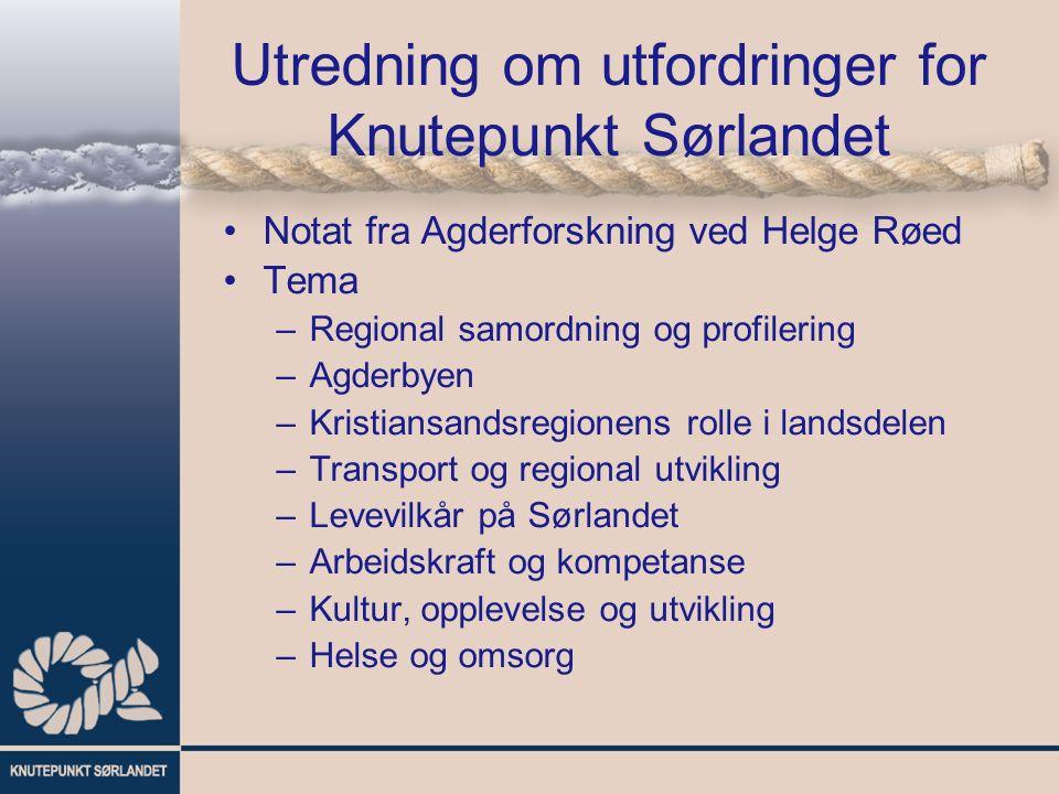 Utredning om utfordringer for Knutepunkt Sørlandet Notat fra Agderforskning ved Helge Røed Tema –Regional samordning og profilering –Agderbyen –Kristi