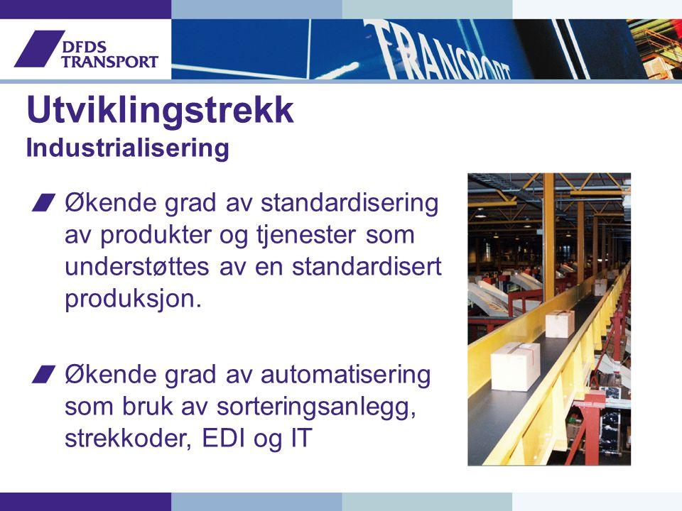 Utviklingstrekk Industrialisering Økende grad av standardisering av produkter og tjenester som understøttes av en standardisert produksjon.