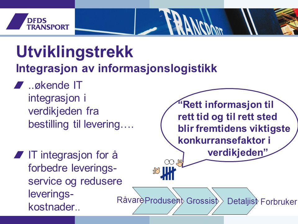 Utviklingstrekk Integrasjon av informasjonslogistikk..økende IT integrasjon i verdikjeden fra bestilling til levering….