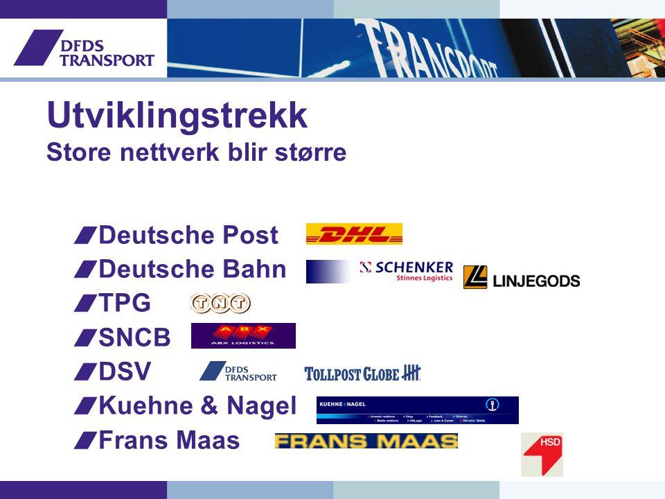 Utviklingstrekk Store nettverk blir større Deutsche Post Deutsche Bahn TPG SNCB DSV Kuehne & Nagel Frans Maas