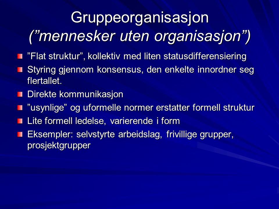 Gruppeorganisasjon kan gjenfinnes som del av, inne i organisasjoner - team.
