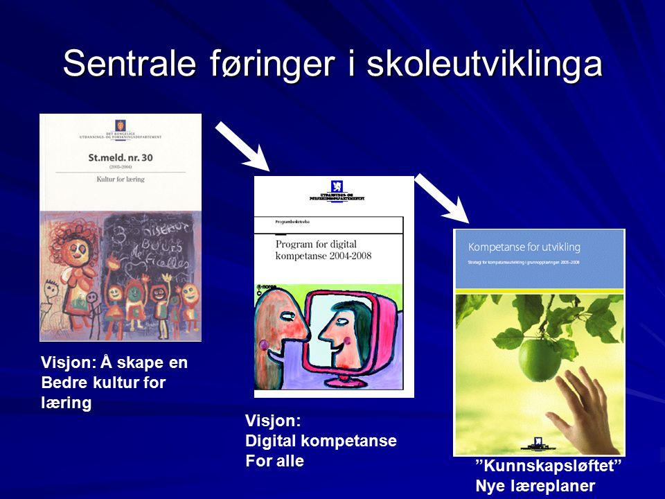 Program for digital kompetanse 4 satsingsområder: Infrastruktur Kompetanseutvikling FoU Digitale læringsressurser, Læreplaner og arbeidsformer Kunnskapsdannelse, Læring og formidling