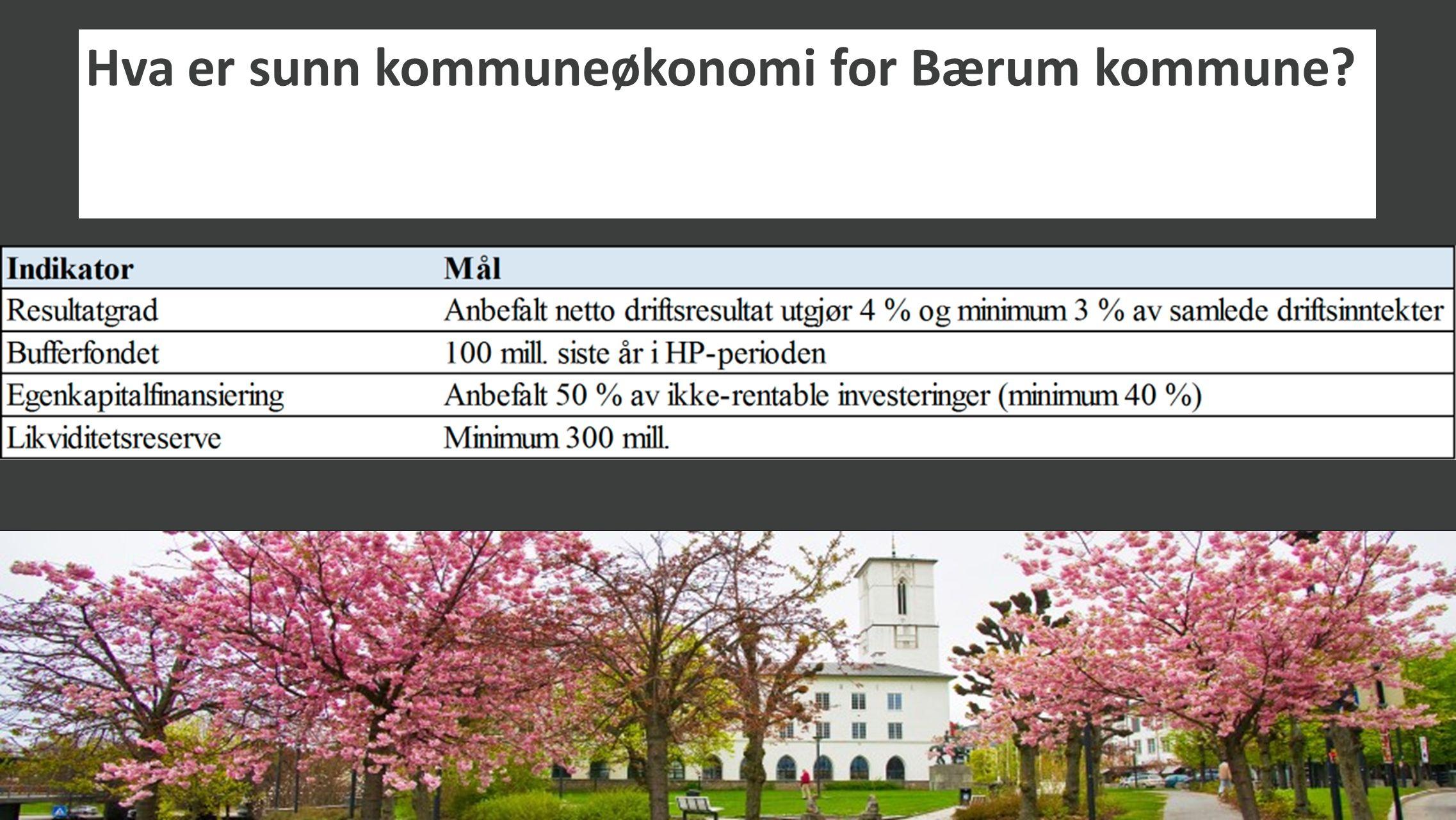 Hva er sunn kommuneøkonomi for Bærum kommune? Skal suppleres med nøkkeltall for «sunt vedlikehold»