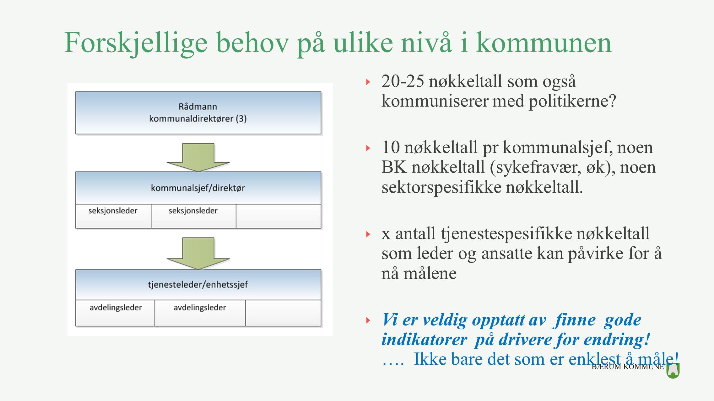 Forskjellige behov på ulike nivå i kommunen 20-25 nøkkeltall som også kommuniserer med politikerne? 10 nøkkeltall pr kommunalsjef, noen BK nøkkeltall