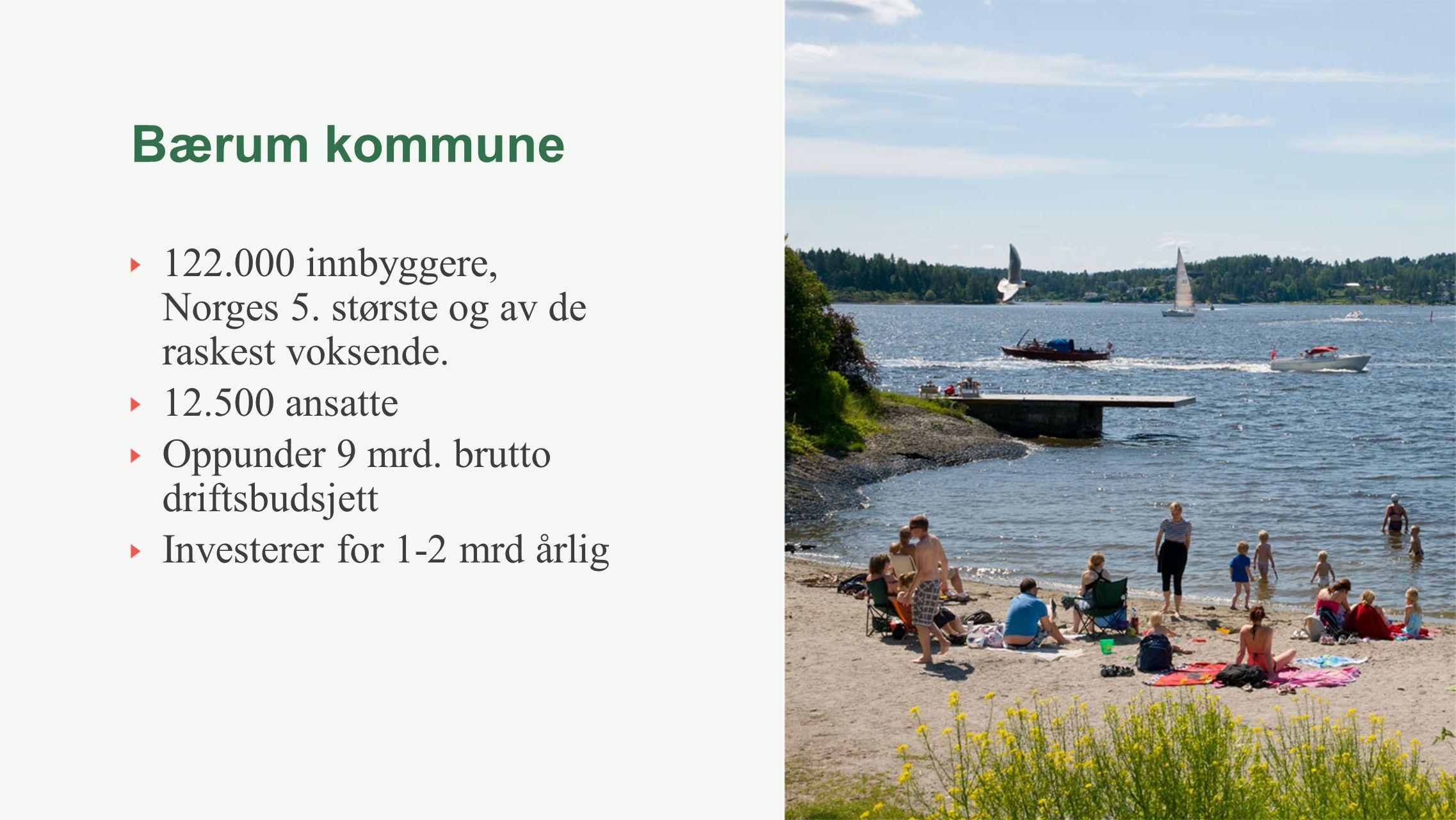 Bærum kommune 122.000 innbyggere, Norges 5. største og av de raskest voksende. 12.500 ansatte Oppunder 9 mrd. brutto driftsbudsjett Investerer for 1-2