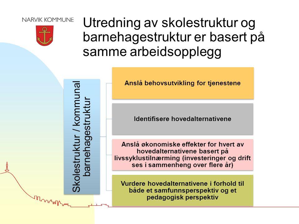 Utredning av skolestruktur og barnehagestruktur er basert på samme arbeidsopplegg Skolestruktur / kommunal barnehagestruktur Anslå behovsutvikling for tjenestene Identifisere hovedalternativene Anslå økonomiske effekter for hvert av hovedalternativene basert på livssyklustilnærming (investeringer og drift ses i sammenheng over flere år) Vurdere hovedalternativene i forhold til både et samfunnsperspektiv og et pedagogisk perspektiv